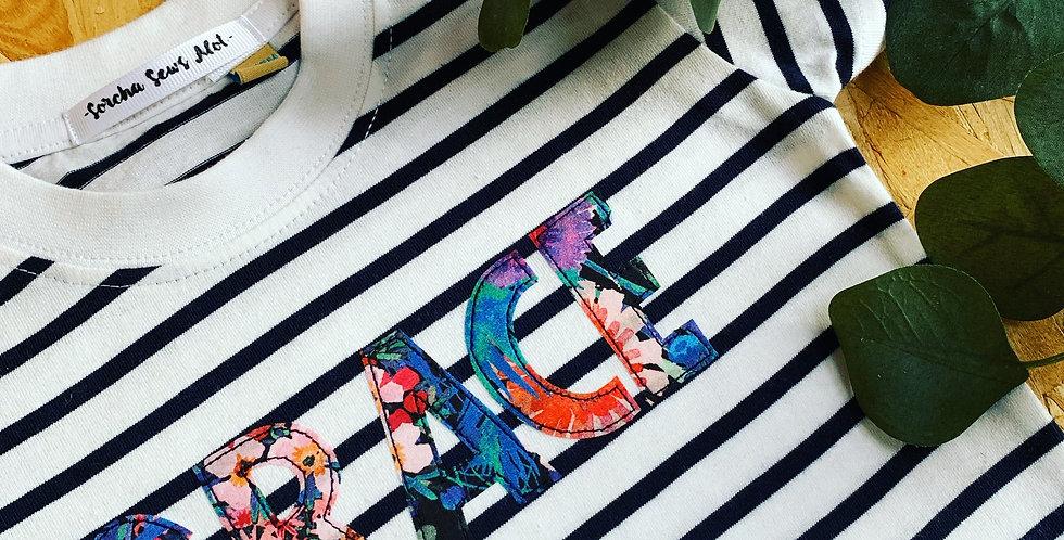 Liberty Print Stripe Name Tee