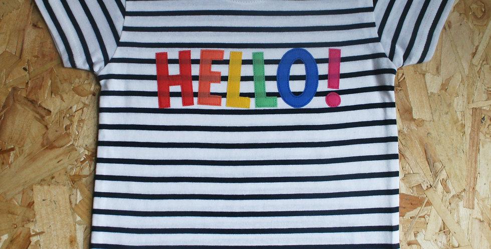 Hello! Rainbow Stripe Tee