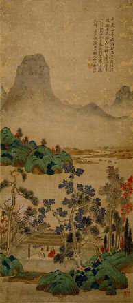 Li Jian 黎簡,Landscape青綠山水,c. 1793.Ink and color on silk. From the UMAG collection