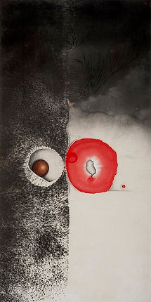 Irene Chou 周綠雲,Abstract Composition抽象畫,c. 1980s. Ink and color on silk. From the UMAG collection