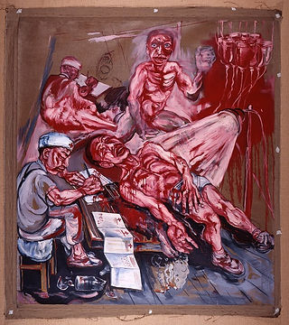 Zeng Fangzhi曾梵志,Human Flesh人類與肉類,1993. Oil on canvas. From the UMAG collection