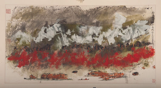 Hou Beiren 侯北人,Rafts on the Spring River春光泛舟圖,2018.Ink and color on paper  From the UMAG collection