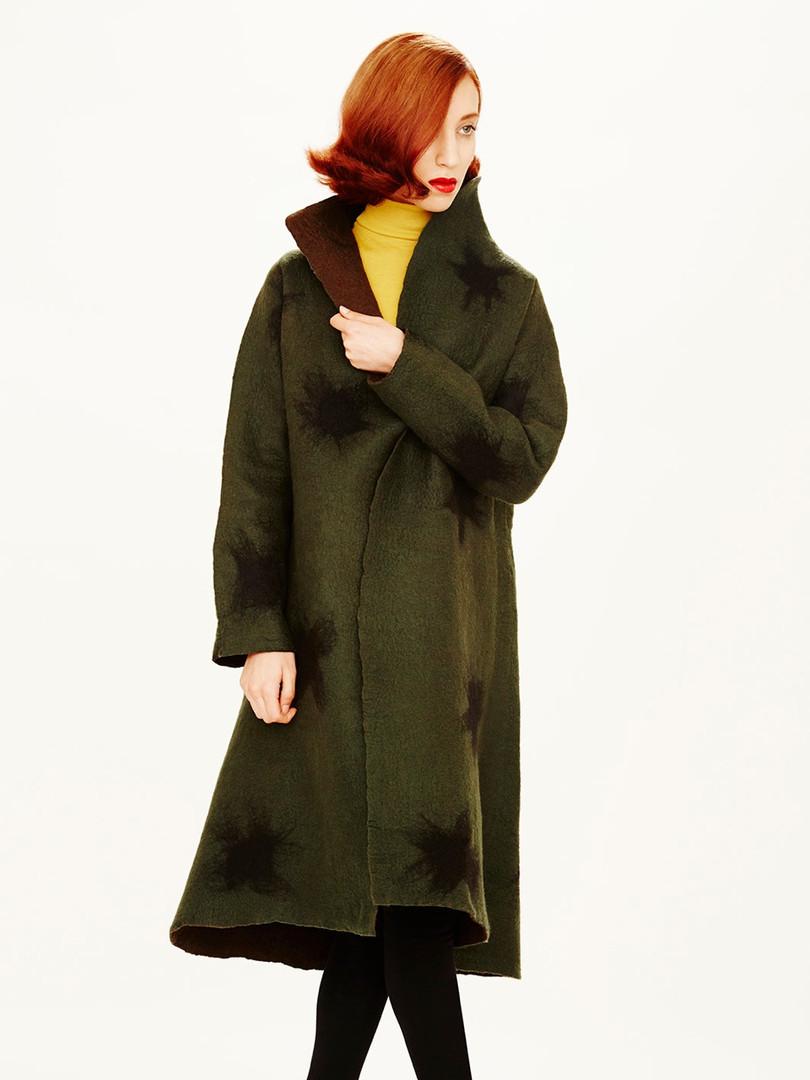 Abrigo reversible sin costuras.