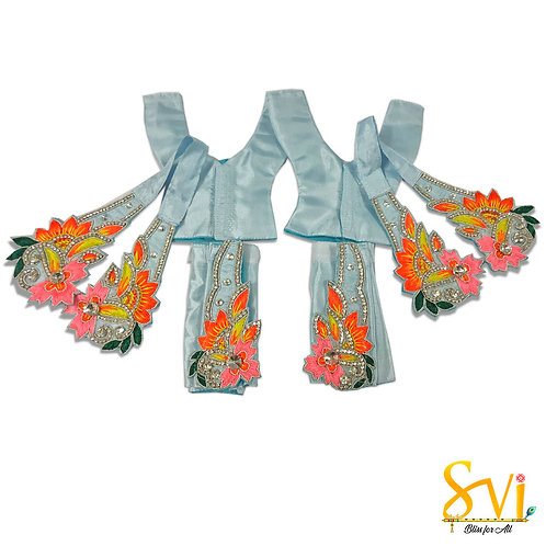 Gaura Nitai Outfit (Sky Blue with Orange)