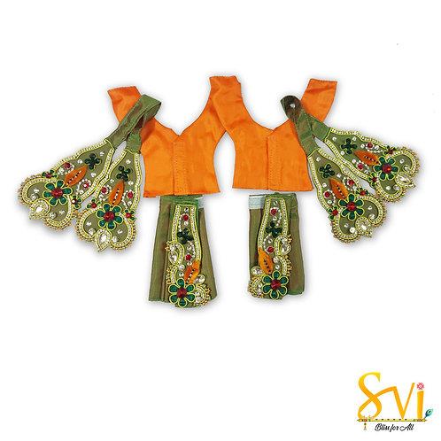 Gaura Nitai Outfit (Green & Orange)