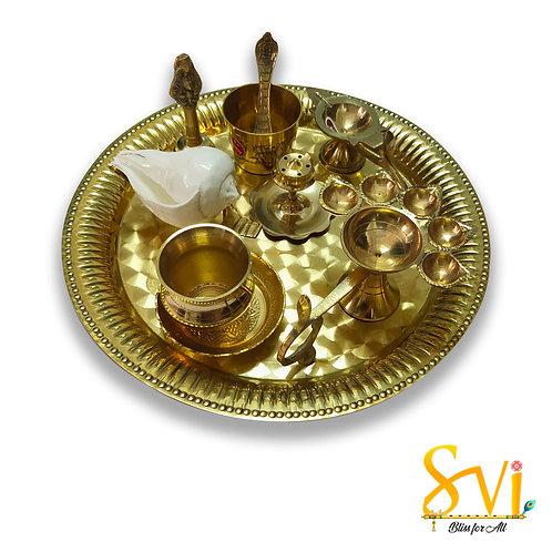 Aarti Set (Worship Articles) Pure Brass Metal