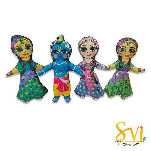 Radha Krishna with Lalita Vishakha Doll Deities