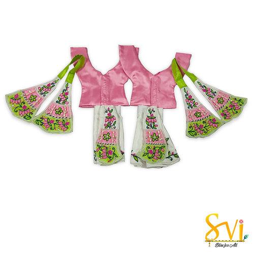 Gaur Nitai Outfit (White, Pink & Parrot Green)