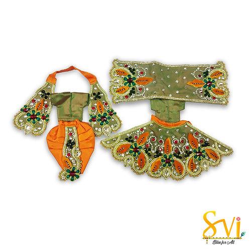 Radha Krishna Outfit (Green & Orange)