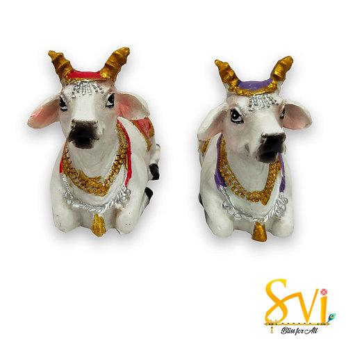 Kamdhenu Two Cow Sitting Position Multi-Colour
