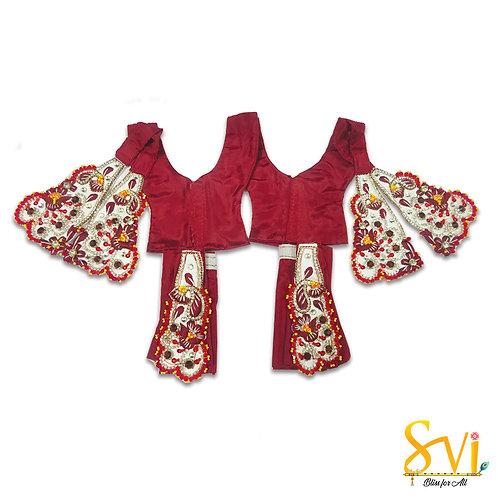 Gaura Nitai Outfit (Maroon & White)