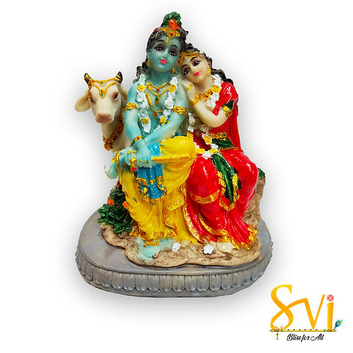 Radha Krishna the Divine Couple with Cow