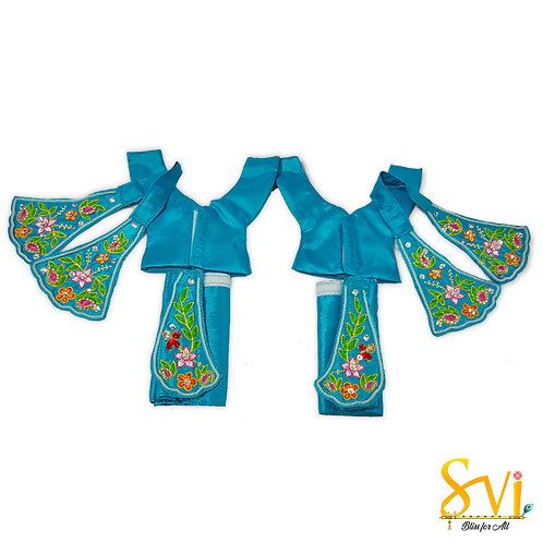 Gaura Nitai Outfit (Turquoise with Green Combination)