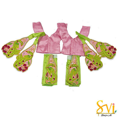 Gaura Nitai Outfit (Parrot Green with Baby Pink)