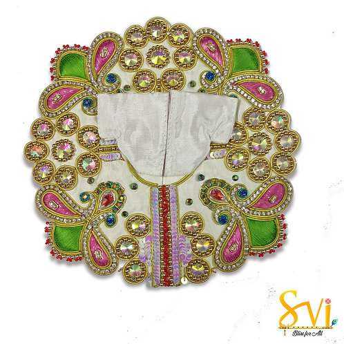 Laddoo Gopal Outfit (White with Green & Pink)