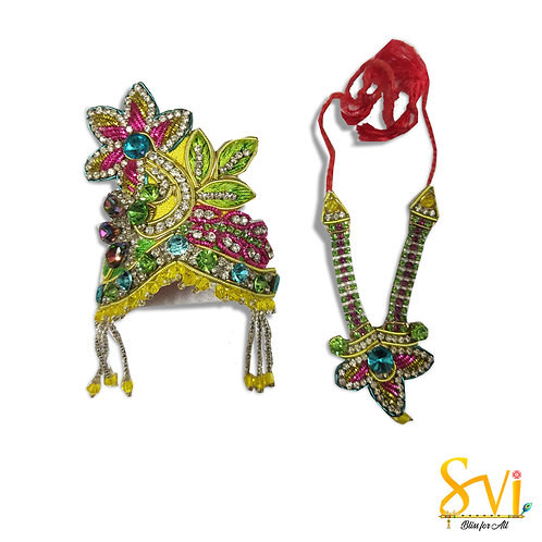 Crown & Necklace (Yellow with Magenta)