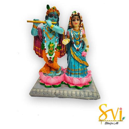 Radha Krishna standing on Lotus