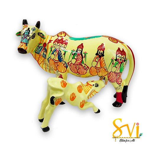Kamdhenu Cow with Calf having Gods & Goddess