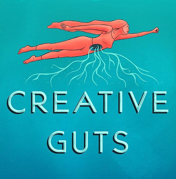 Creative Guts Logo, illustration of a woman fllying
