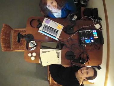 Sarah and Laura Recording Selfie