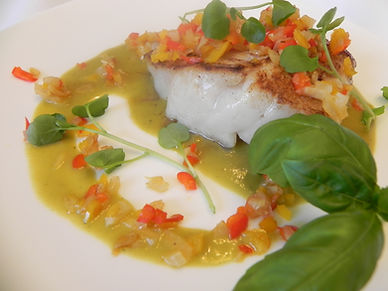 Sea Bass in Squash Herb Sauce