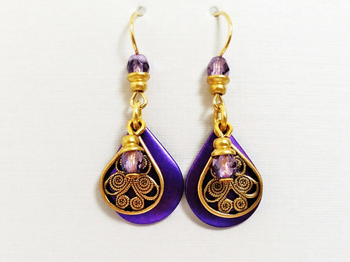 JMR Purple Teardrop  Earrings
