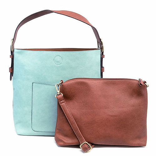 Hobo Handbag with small tote Set (Blues and Greens)