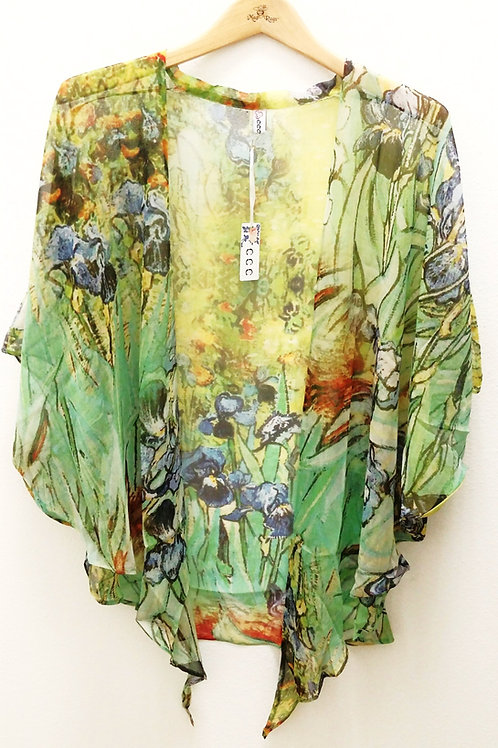Hand Painted 100% Silk Tie Top  (Iris)