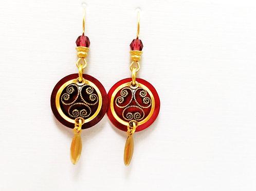 JMR Scarlet & Gold  Earrings