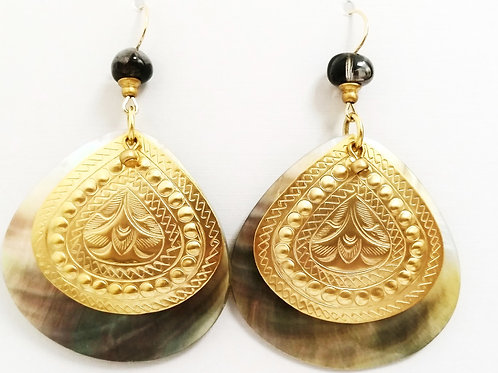 JMR  Abalone Shell Teardrop Earrings