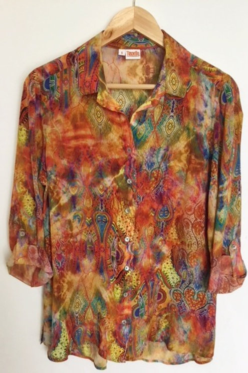 """Jinya"" print silk Loving blouse"