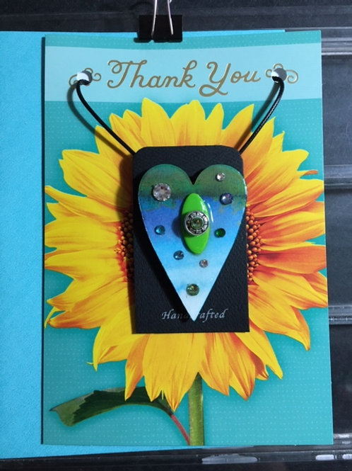 Thank You-Sunflower-Art Heart Card