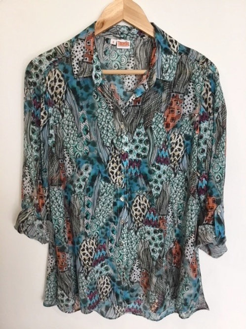"""Hip Cat"" print silk Loving blouse"