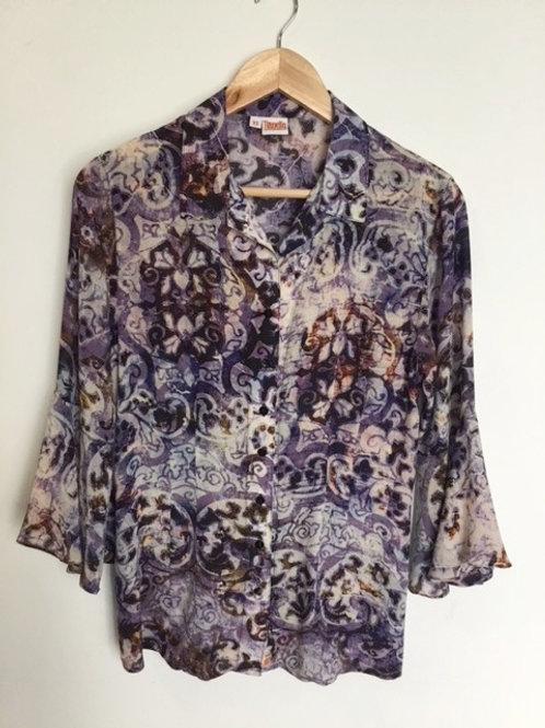 """""""Bhakti"""" print silk Devesa blouse"""