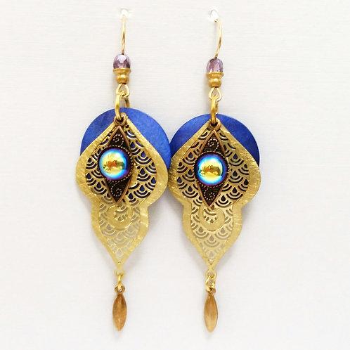 JMR Blue Domed Filigree Earrings