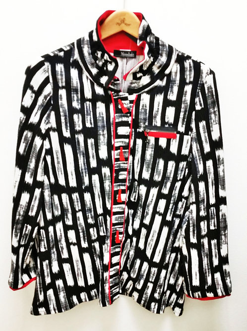 Moonlight B&W Red Button Jacket