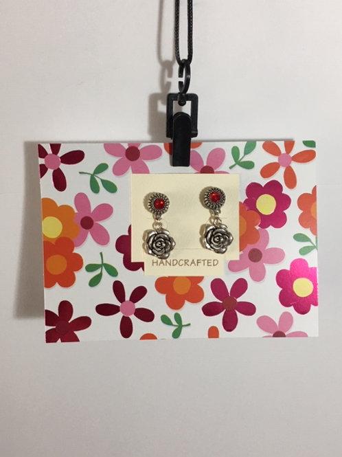 Rose Earrings -Blank Inside- Note Card