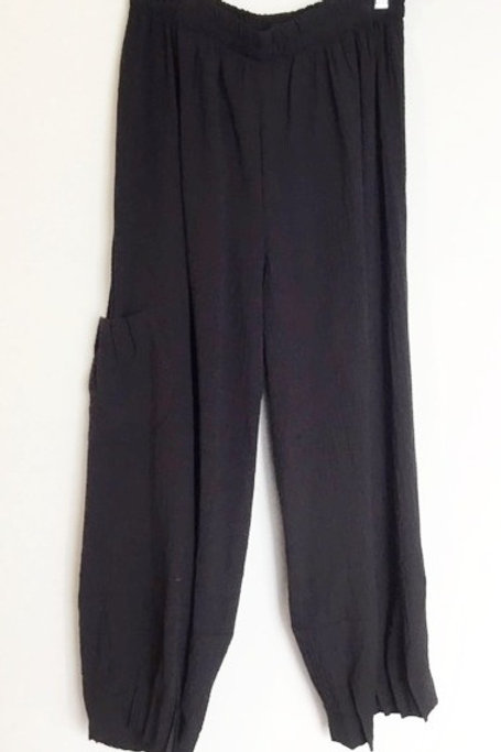 Textured Pant with Leg and Pocket Pleats