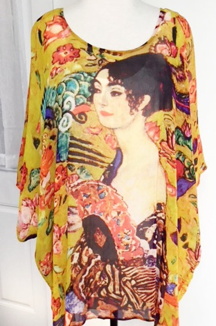 Klimt's 'Lady with Fan' Silky Poncho Topper