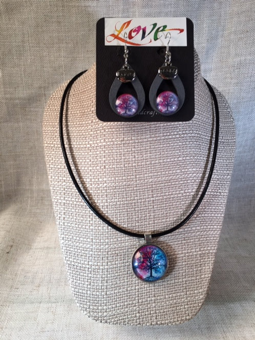 Set Tree Blues Necklace and Earrings