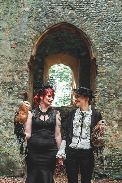 Dark Bridal Styled Shoot.    Photographer: Fear of the Dark Room Photography Stationery: In the Details Cake: Sugar Buttons Cakes HMUA: Boho Beauty Box - Hair and Make Up Artistry Florist: Love Frank Models: Ophelia Doriana & Kitty Clements Kitty Clements Modelling / @opheliadoriana  Signage: For Keeps Owls: Fritton Owl Sanctuary