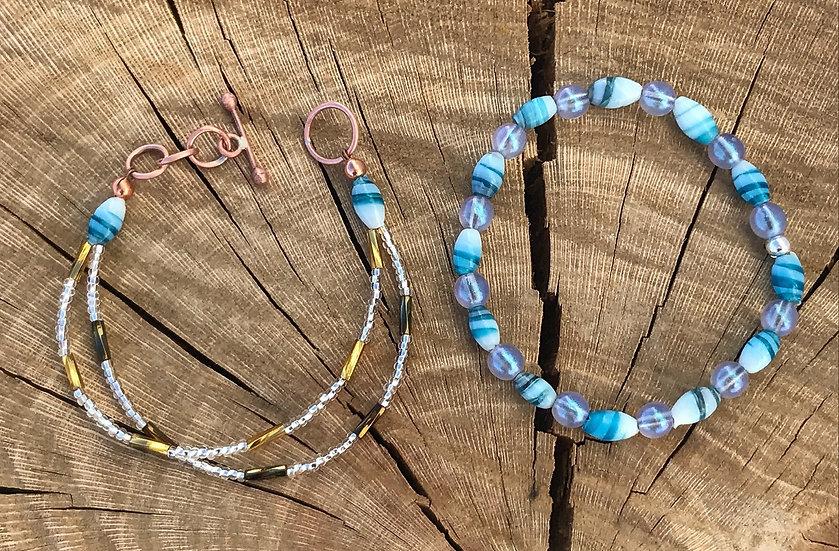 Blue Vintage Bead Stack Bracelet Set