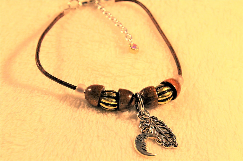 Brown Leather Moon Anklet