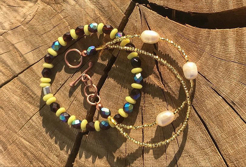 Fire-polished Bead Stack Bracelet Set