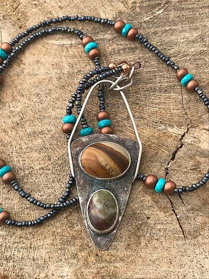 Double Jasper Pendant Necklace