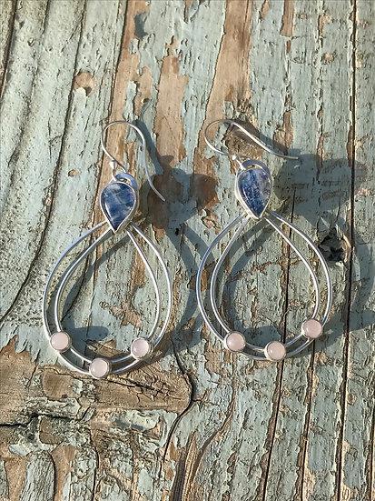 Moonstone & Rose Quartz Sterling Silver Earrings