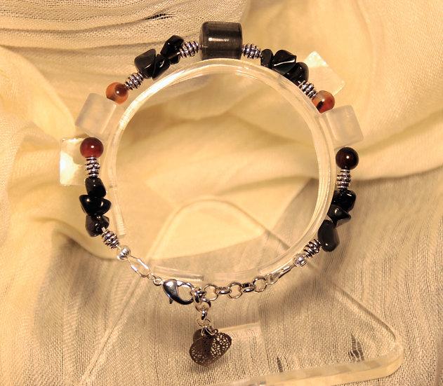 Obsidian and Crystal Bracelet