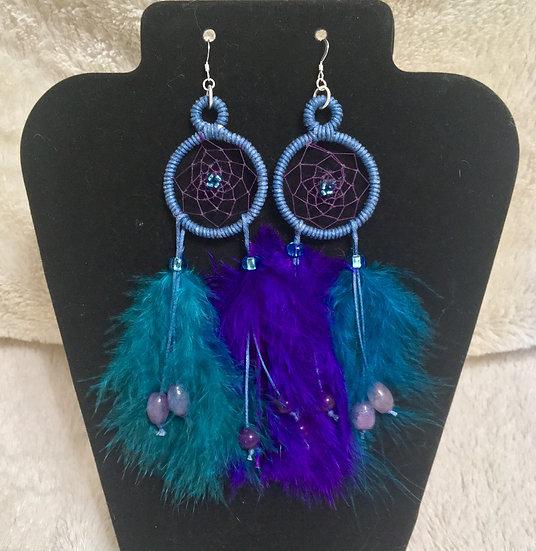 Purple & Teal Dreamcatcher Earrings