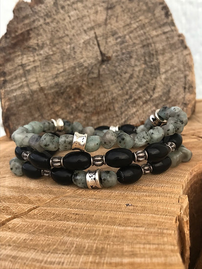 Sesame Jasper Stack Bracelets