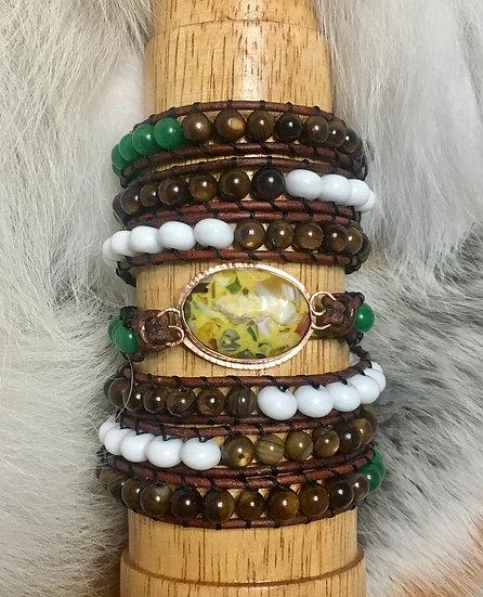 """Glass """"Stone"""" Wrap Bracelet"""